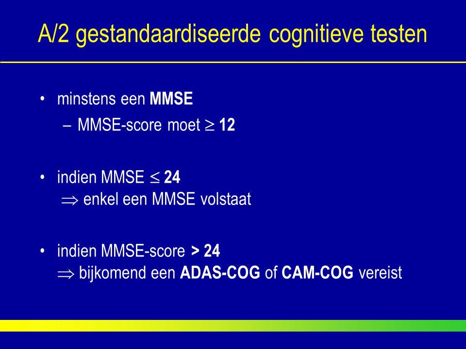 A/2 gestandaardiseerde cognitieve testen minstens een MMSE –MMSE-score moet  12 indien MMSE  24  enkel een MMSE volstaat indien MMSE-score > 24  b