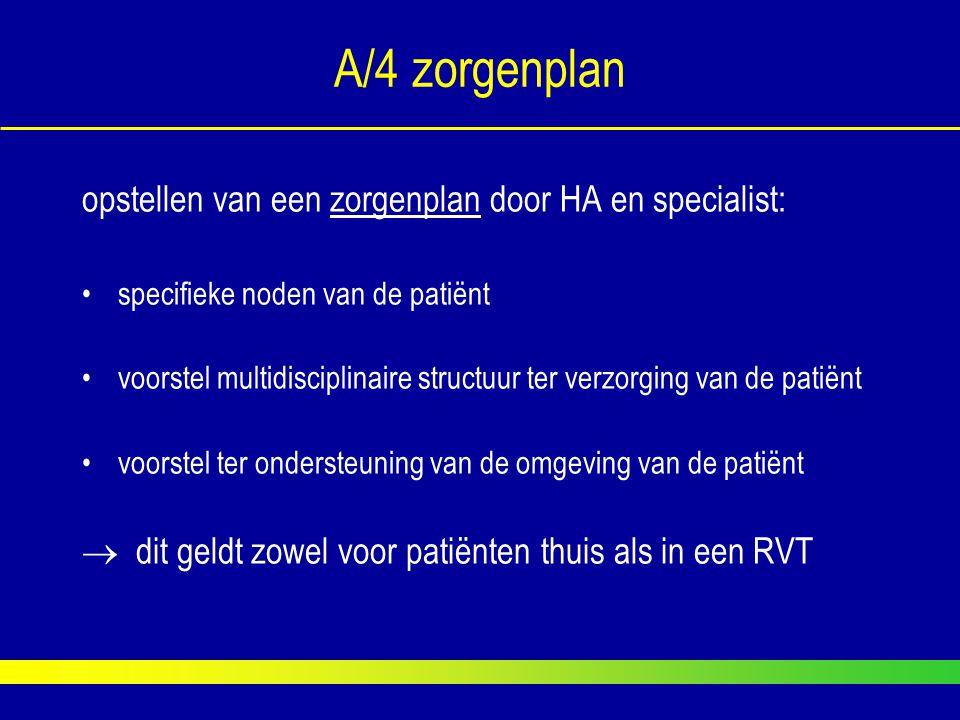 A/4 zorgenplan opstellen van een zorgenplan door HA en specialist: specifieke noden van de patiënt voorstel multidisciplinaire structuur ter verzorgin