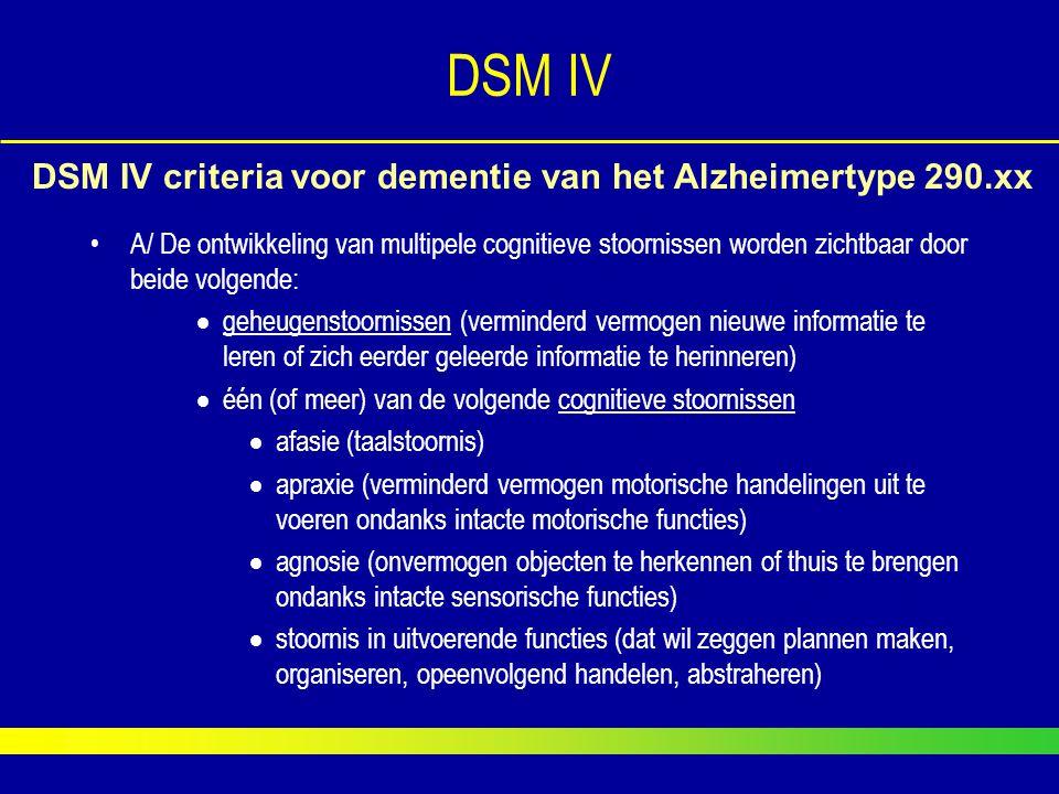 DSM IV A/ De ontwikkeling van multipele cognitieve stoornissen worden zichtbaar door beide volgende:  geheugenstoornissen (verminderd vermogen nieuwe