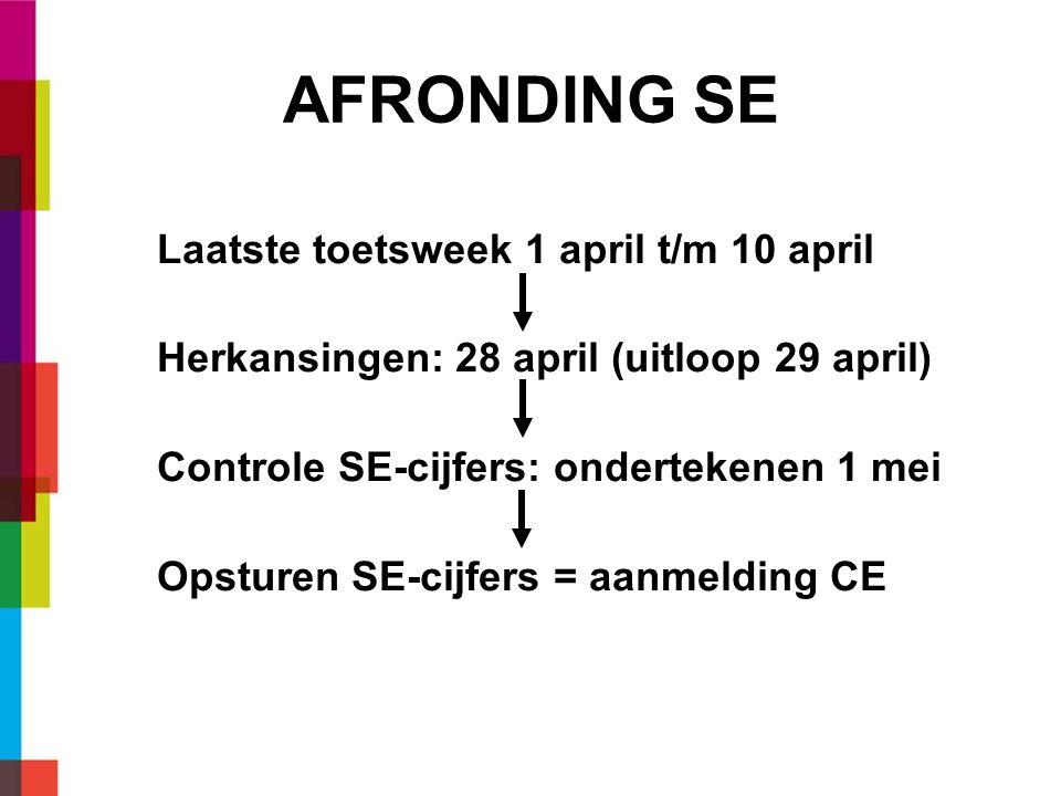 AFRONDING SE Laatste toetsweek 1 april t/m 10 april Herkansingen: 28 april (uitloop 29 april) Controle SE-cijfers: ondertekenen 1 mei Opsturen SE-cijfers = aanmelding CE