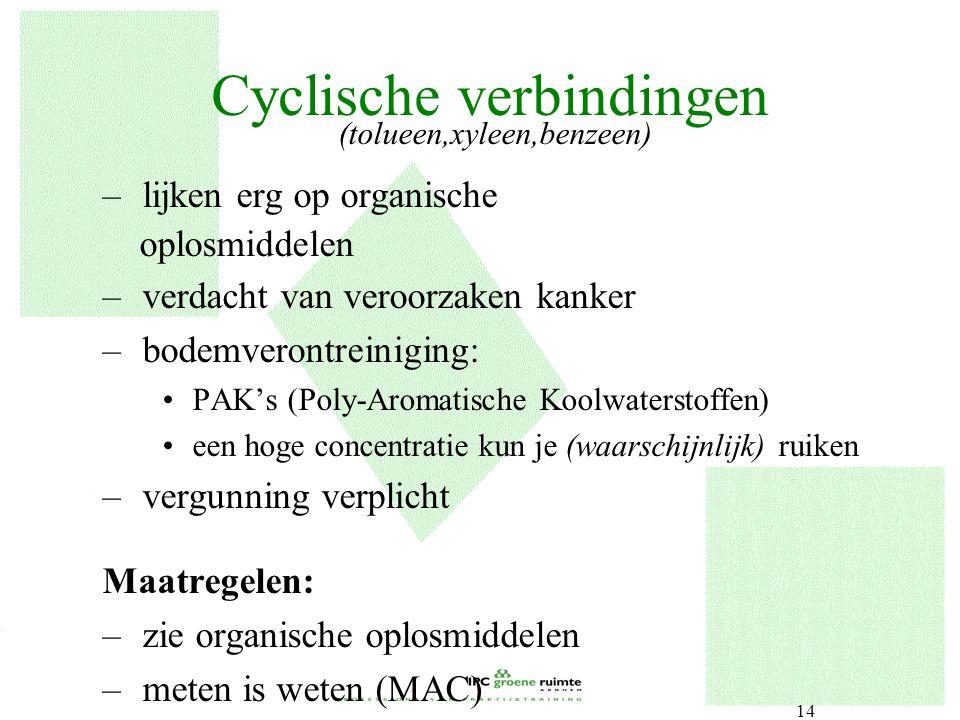 14 Cyclische verbindingen (tolueen,xyleen,benzeen) –lijken erg op organische oplosmiddelen –verdacht van veroorzaken kanker –bodemverontreiniging: PAK