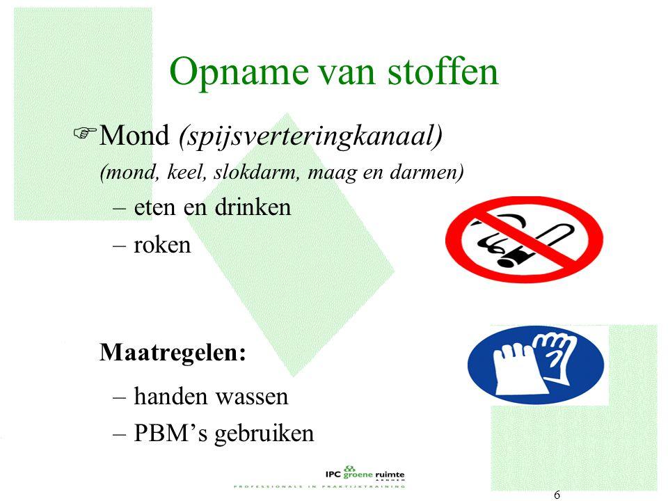6 Opname van stoffen FMond (spijsverteringkanaal) (mond, keel, slokdarm, maag en darmen) –eten en drinken –roken Maatregelen: –handen wassen –PBM's ge