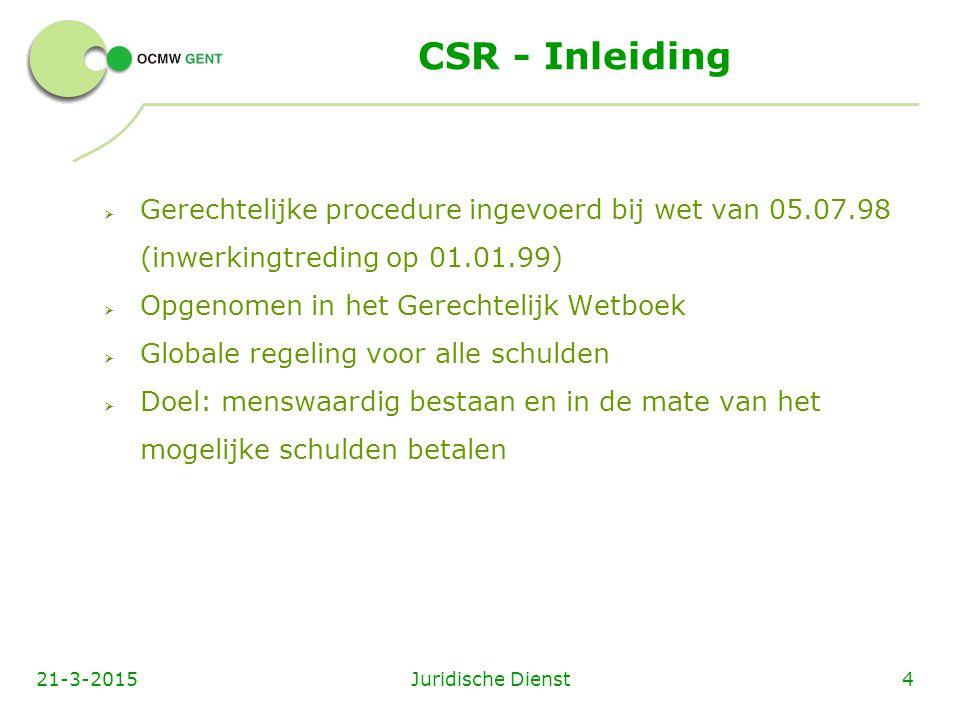 CSR - Inleiding  Nieuwe start  Spilfiguur : schuldbemiddelaar (zelfde personen en instellingen van art.