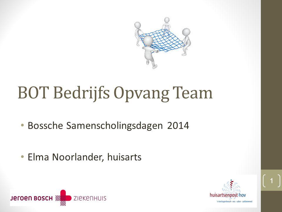 BOT Bedrijfs Opvang Team Bossche Samenscholingsdagen 2014 Elma Noorlander, huisarts 1