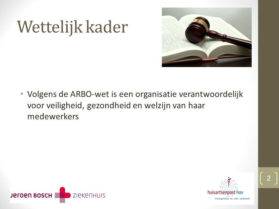Wettelijk kader Volgens de ARBO-wet is een organisatie verantwoordelijk voor veiligheid, gezondheid en welzijn van haar medewerkers 2