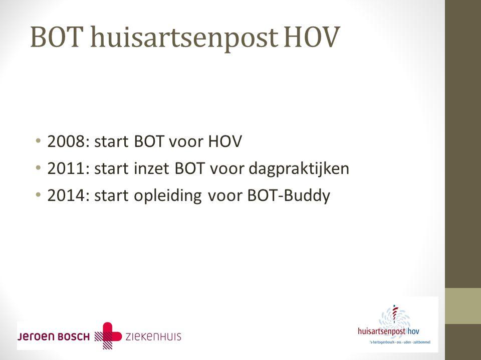 BOT huisartsenpost HOV 2008: start BOT voor HOV 2011: start inzet BOT voor dagpraktijken 2014: start opleiding voor BOT-Buddy