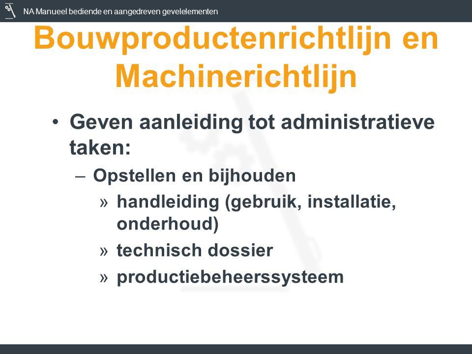 NA Manueel bediende en aangedreven gevelelementen Bouwproductenrichtlijn en Machinerichtlijn Geven aanleiding tot administratieve taken: –Opstellen en bijhouden »handleiding (gebruik, installatie, onderhoud) »technisch dossier »productiebeheerssysteem