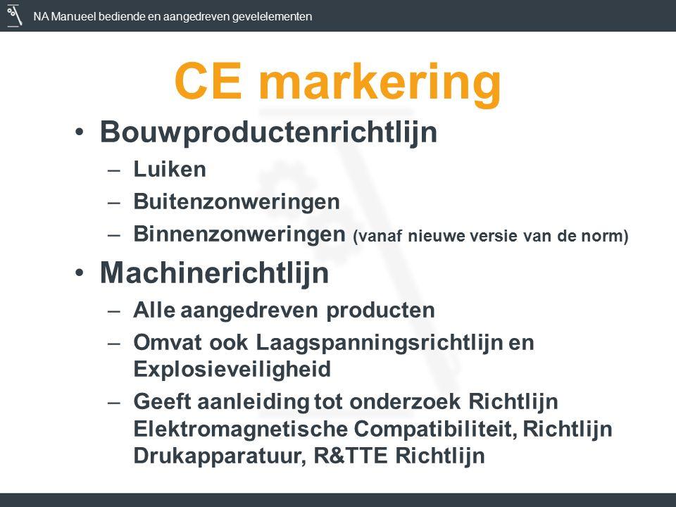 NA Manueel bediende en aangedreven gevelelementen CE markering Bouwproductenrichtlijn –Luiken –Buitenzonweringen –Binnenzonweringen (vanaf nieuwe versie van de norm) Machinerichtlijn –Alle aangedreven producten –Omvat ook Laagspanningsrichtlijn en Explosieveiligheid –Geeft aanleiding tot onderzoek Richtlijn Elektromagnetische Compatibiliteit, Richtlijn Drukapparatuur, R&TTE Richtlijn