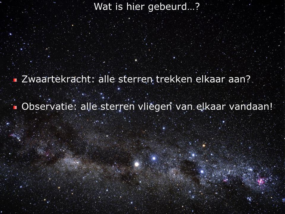 Wat is hier gebeurd…. Zwaartekracht: alle sterren trekken elkaar aan.