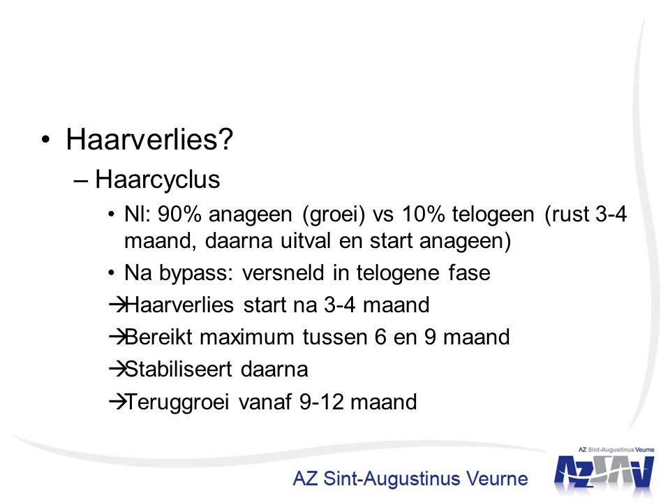 Haarverlies? –Haarcyclus Nl: 90% anageen (groei) vs 10% telogeen (rust 3-4 maand, daarna uitval en start anageen) Na bypass: versneld in telogene fase