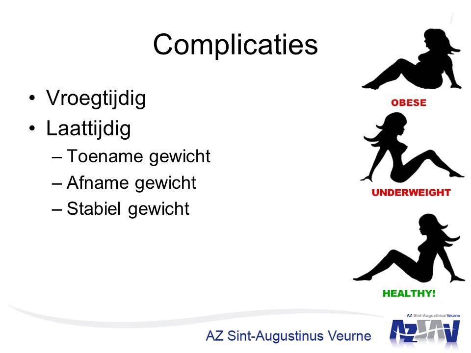 Complicaties Vroegtijdig Laattijdig –Toename gewicht –Afname gewicht –Stabiel gewicht