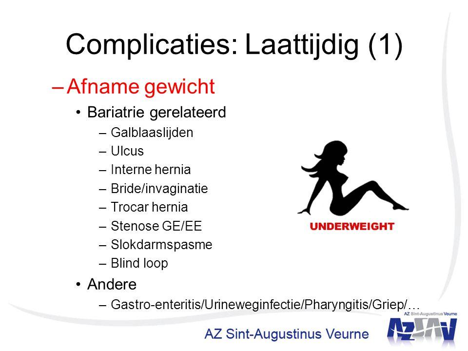 Complicaties: Laattijdig (1) –Afname gewicht Bariatrie gerelateerd –Galblaaslijden –Ulcus –Interne hernia –Bride/invaginatie –Trocar hernia –Stenose G