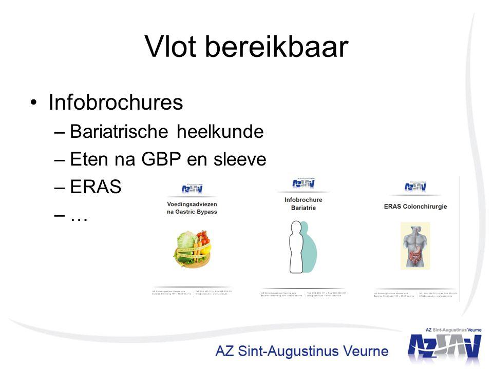 Vlot bereikbaar Infobrochures –Bariatrische heelkunde –Eten na GBP en sleeve –ERAS –…