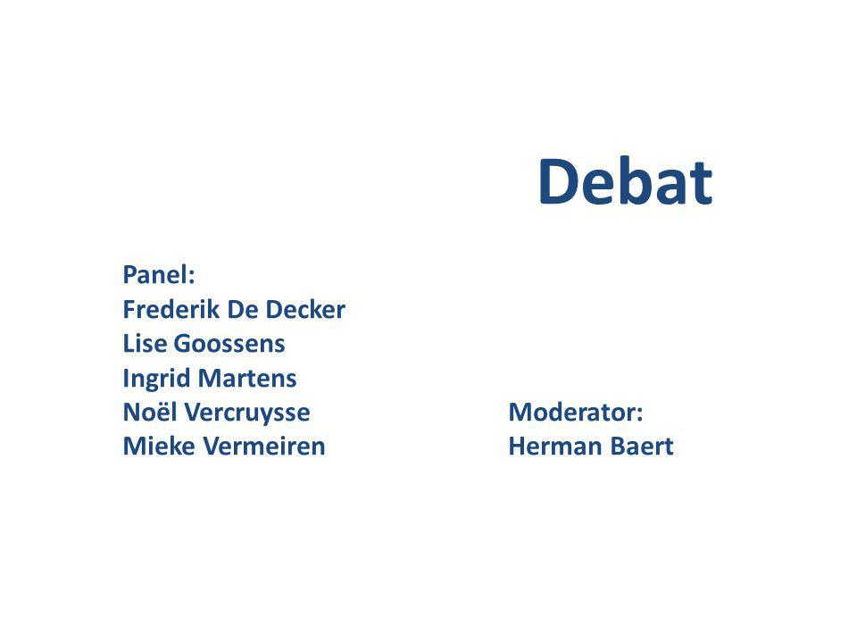 Debat Panel: Frederik De Decker Lise Goossens Ingrid Martens Noël Vercruysse Moderator: Mieke VermeirenHerman Baert