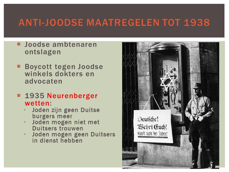  Joodse ambtenaren ontslagen  Boycott tegen Joodse winkels dokters en advocaten  1935 Neurenberger wetten: Joden zijn geen Duitse burgers meer Jode