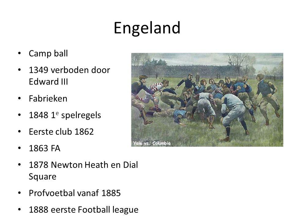 Engeland Camp ball 1349 verboden door Edward III Fabrieken 1848 1 e spelregels Eerste club 1862 1863 FA 1878 Newton Heath en Dial Square Profvoetbal v