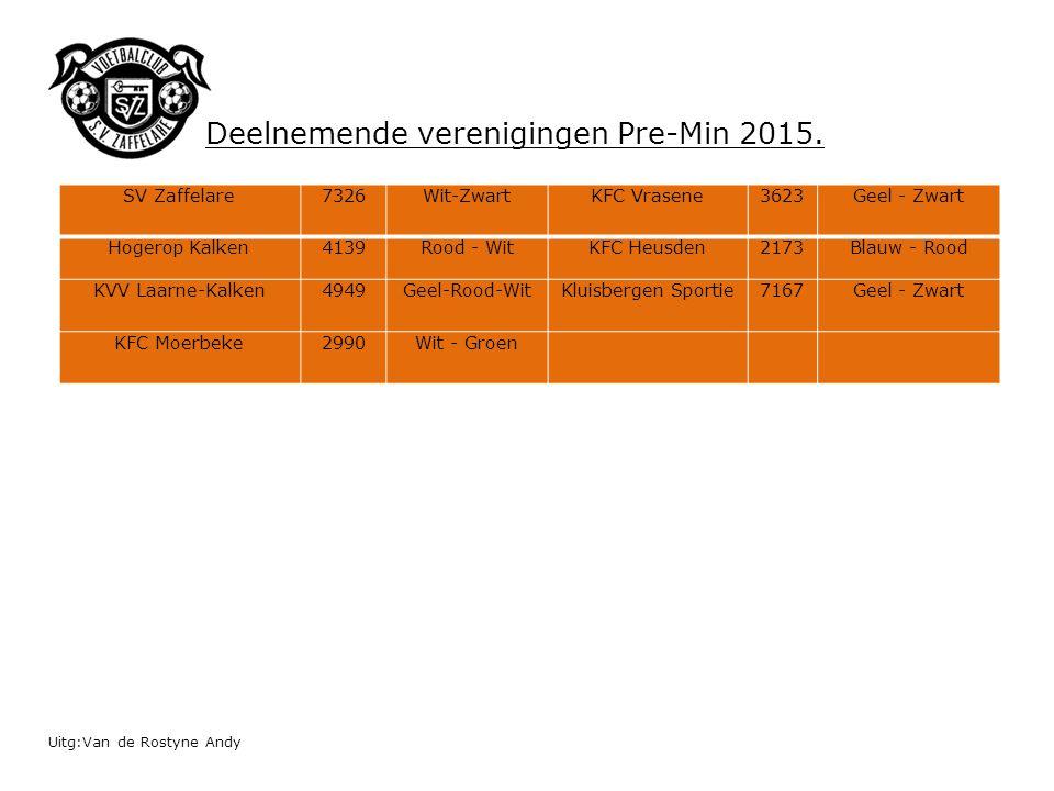 Uitg:Van de Rostyne Andy SV Zaffelare7326Wit-ZwartKFC Vrasene3623Geel - Zwart Hogerop Kalken4139Rood - WitKFC Heusden2173Blauw - Rood KVV Laarne-Kalke