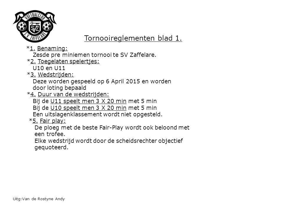 Uitg:Van de Rostyne Andy *1.Benaming: Zesde pre miniemen tornooi te SV Zaffelare.