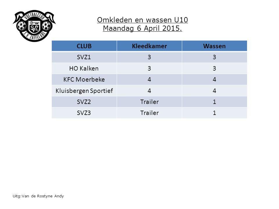 Uitg:Van de Rostyne Andy Omkleden en wassen U10 Maandag 6 April 2015. CLUBKleedkamerWassen SVZ133 HO Kalken33 KFC Moerbeke44 Kluisbergen Sportief44 SV