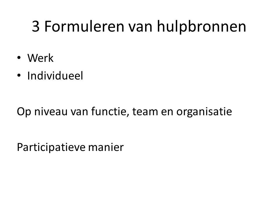 3 Formuleren van hulpbronnen Werk Individueel Op niveau van functie, team en organisatie Participatieve manier