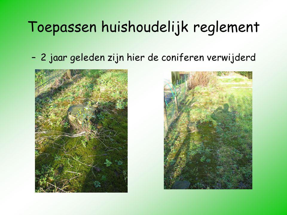 Toepassen huishoudelijk reglement –2 jaar geleden zijn hier de coniferen verwijderd