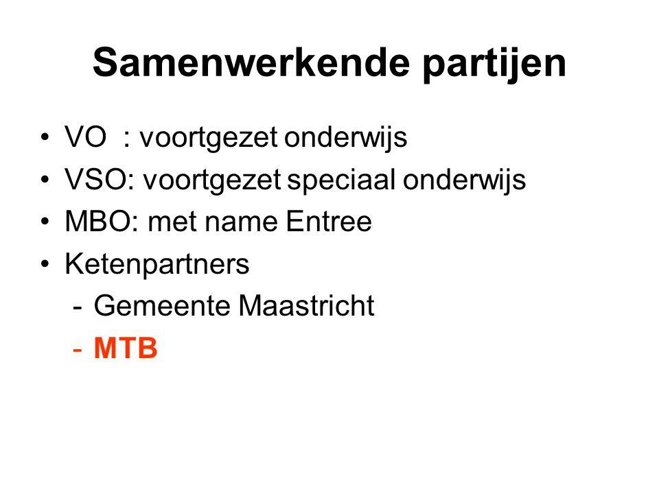 Samenwerkende partijen VO : voortgezet onderwijs VSO: voortgezet speciaal onderwijs MBO: met name Entree Ketenpartners -Gemeente Maastricht -MTB