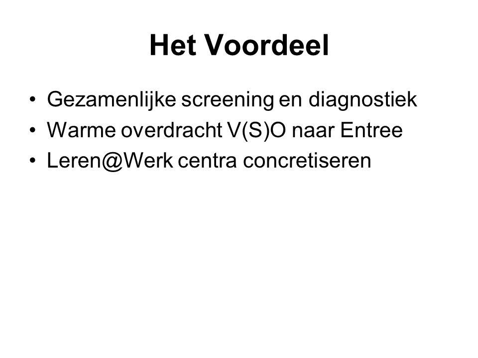 Het Voordeel Gezamenlijke screening en diagnostiek Warme overdracht V(S)O naar Entree Leren@Werk centra concretiseren