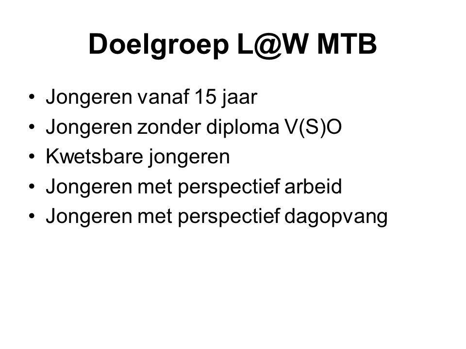 Doelgroep L@W MTB Jongeren vanaf 15 jaar Jongeren zonder diploma V(S)O Kwetsbare jongeren Jongeren met perspectief arbeid Jongeren met perspectief dag