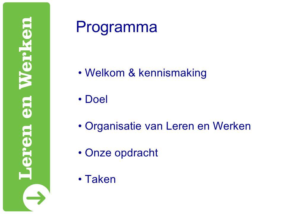 Programma Welkom & kennismaking Doel Organisatie van Leren en Werken Onze opdracht Taken