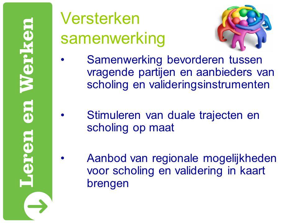 Versterken samenwerking Samenwerking bevorderen tussen vragende partijen en aanbieders van scholing en valideringsinstrumenten Stimuleren van duale trajecten en scholing op maat Aanbod van regionale mogelijkheden voor scholing en validering in kaart brengen