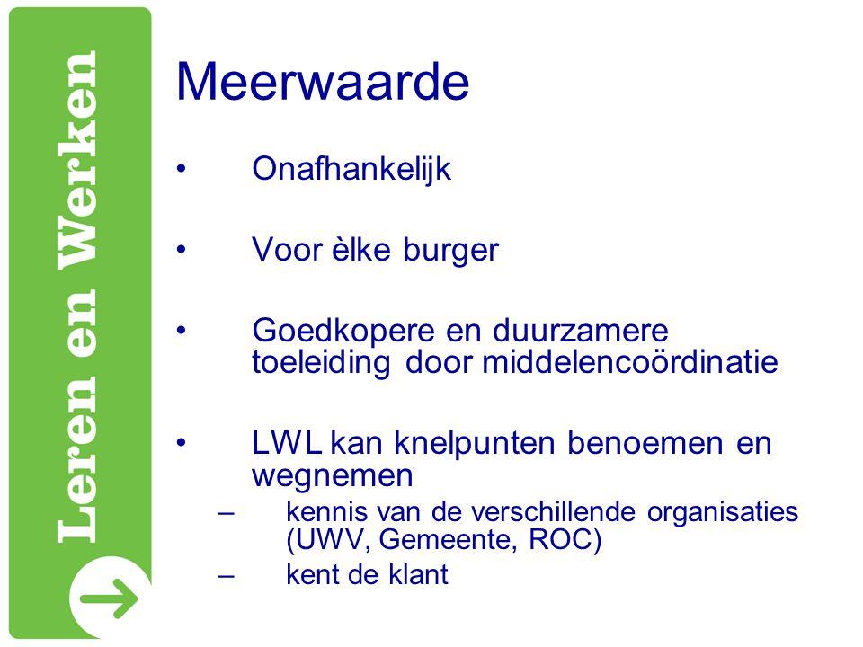 Meerwaarde Onafhankelijk Voor èlke burger Goedkopere en duurzamere toeleiding door middelencoördinatie LWL kan knelpunten benoemen en wegnemen –kennis van de verschillende organisaties (UWV, Gemeente, ROC) –kent de klant