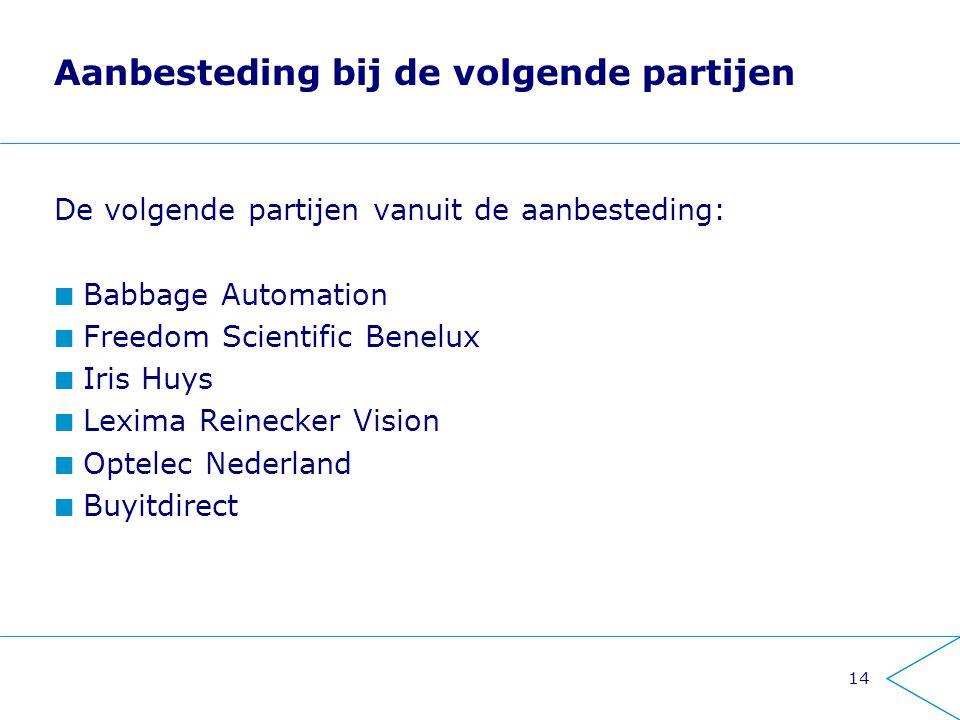 Aanbesteding bij de volgende partijen De volgende partijen vanuit de aanbesteding: Babbage Automation Freedom Scientific Benelux Iris Huys Lexima Rein