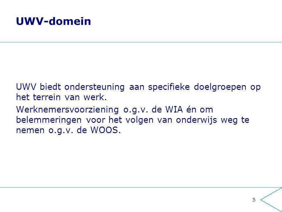 UWV-domein UWV biedt ondersteuning aan specifieke doelgroepen op het terrein van werk. Werknemersvoorziening o.g.v. de WIA én om belemmeringen voor he