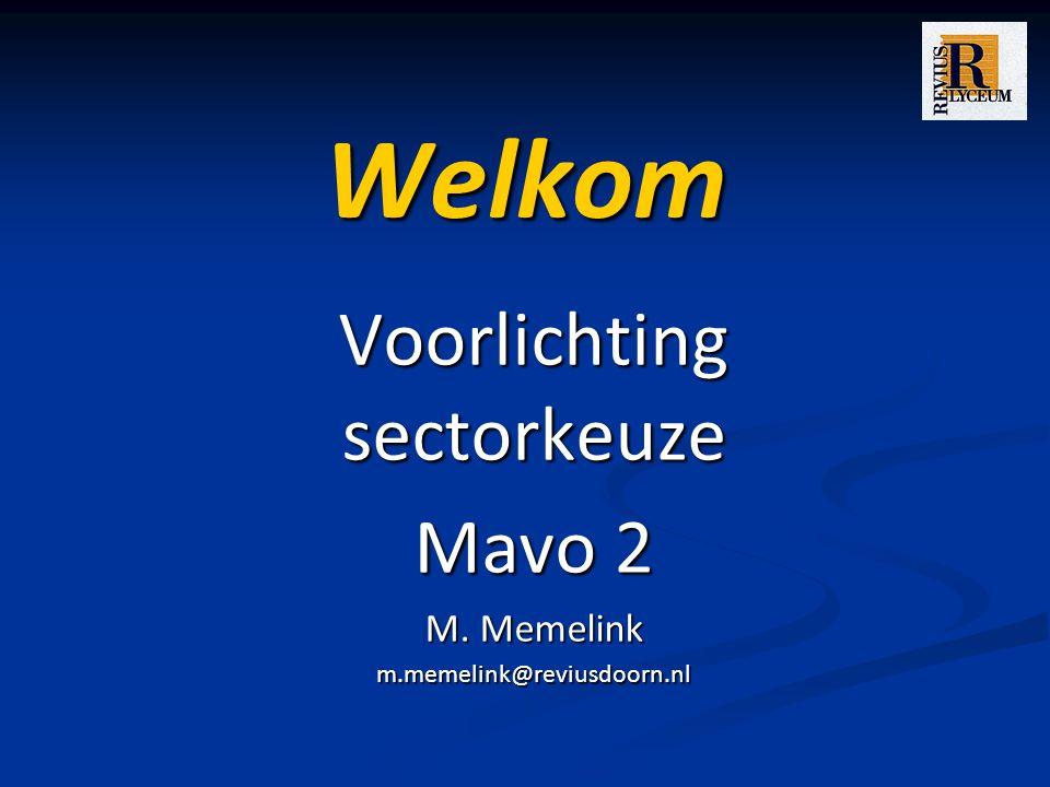 Welkom Voorlichting sectorkeuze Mavo 2 M. Memelink m.memelink@reviusdoorn.nl
