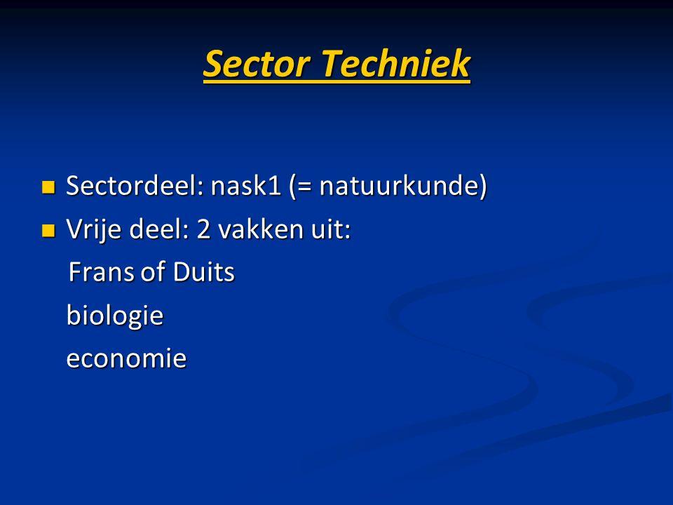 Sector Techniek Sectordeel: nask1 (= natuurkunde) Sectordeel: nask1 (= natuurkunde) Vrije deel: 2 vakken uit: Vrije deel: 2 vakken uit: Frans of Duits
