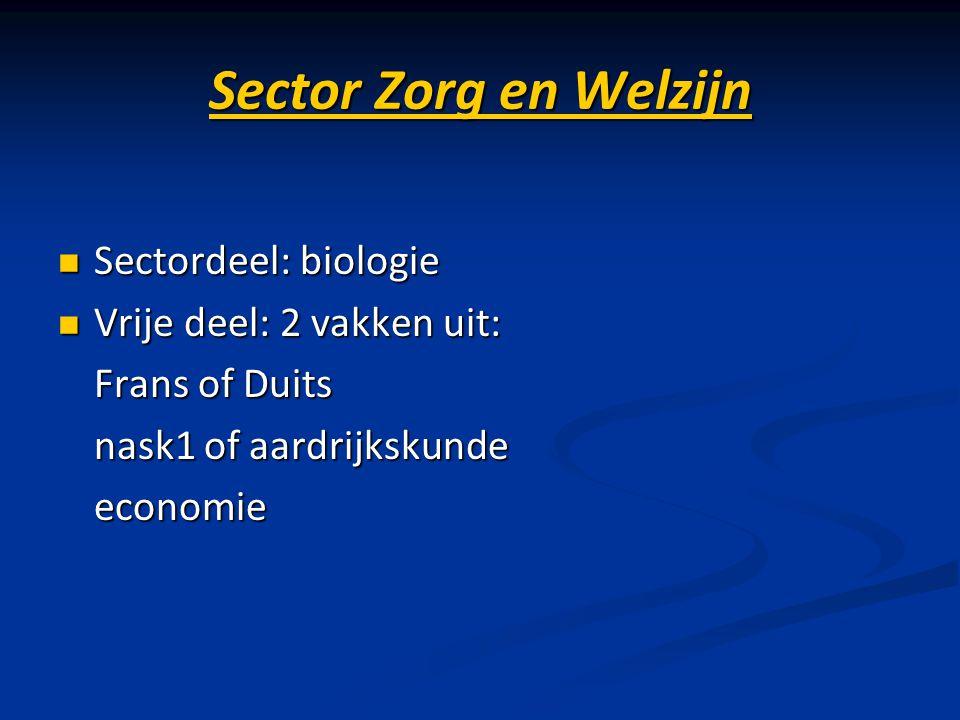 Sector Zorg en Welzijn Sectordeel: biologie Sectordeel: biologie Vrije deel: 2 vakken uit: Vrije deel: 2 vakken uit: Frans of Duits Frans of Duits nas
