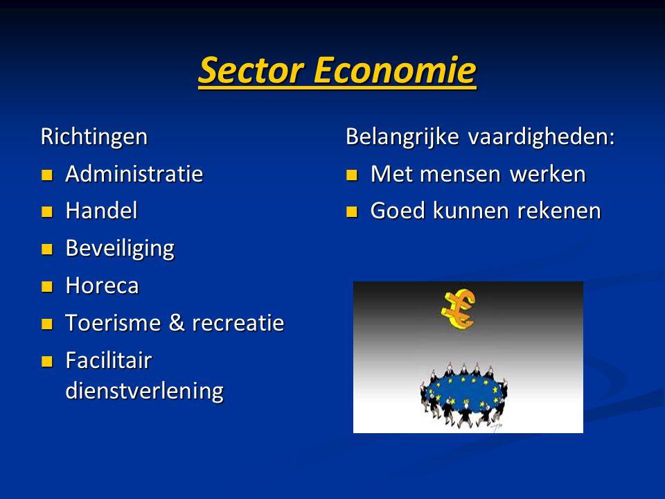 Sector Economie Richtingen Administratie Administratie Handel Handel Beveiliging Beveiliging Horeca Horeca Toerisme & recreatie Toerisme & recreatie F