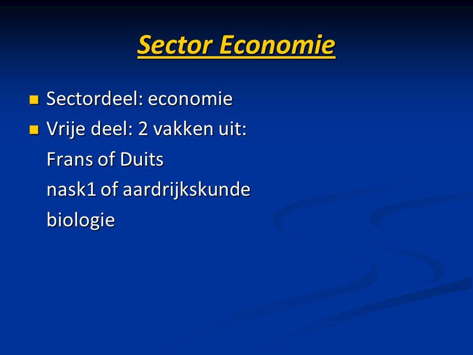 Sector Economie Sectordeel: economie Sectordeel: economie Vrije deel: 2 vakken uit: Vrije deel: 2 vakken uit: Frans of Duits Frans of Duits nask1 of a