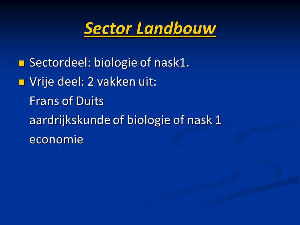 Sector Landbouw Sectordeel: biologie of nask1. Sectordeel: biologie of nask1. Vrije deel: 2 vakken uit: Vrije deel: 2 vakken uit: Frans of Duits Frans