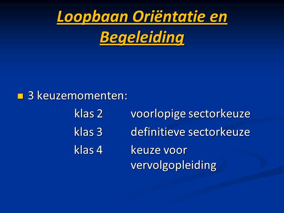 Loopbaan Oriëntatie en Begeleiding 3 keuzemomenten: 3 keuzemomenten: klas 2voorlopige sectorkeuze klas 2voorlopige sectorkeuze klas 3definitieve secto