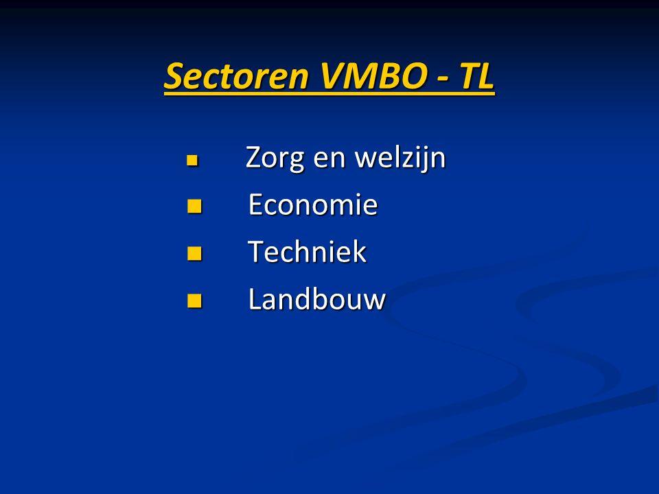 Sectoren VMBO - TL Zorg en welzijn Zorg en welzijn Economie Economie Techniek Techniek Landbouw Landbouw