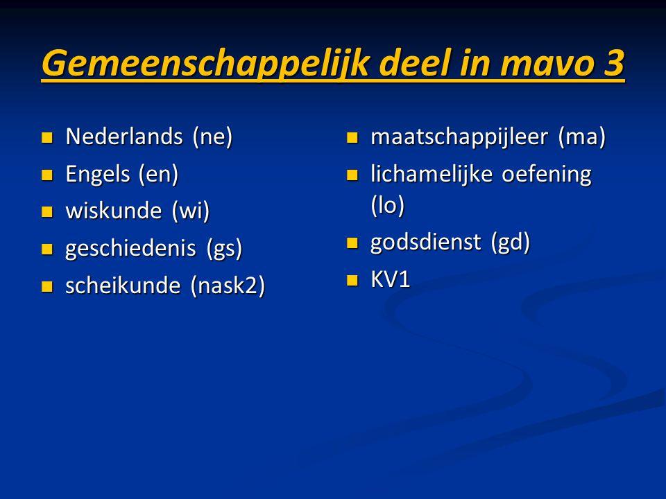 Gemeenschappelijk deel in mavo 3 Nederlands (ne) Nederlands (ne) Engels (en) Engels (en) wiskunde (wi) wiskunde (wi) geschiedenis (gs) geschiedenis (g