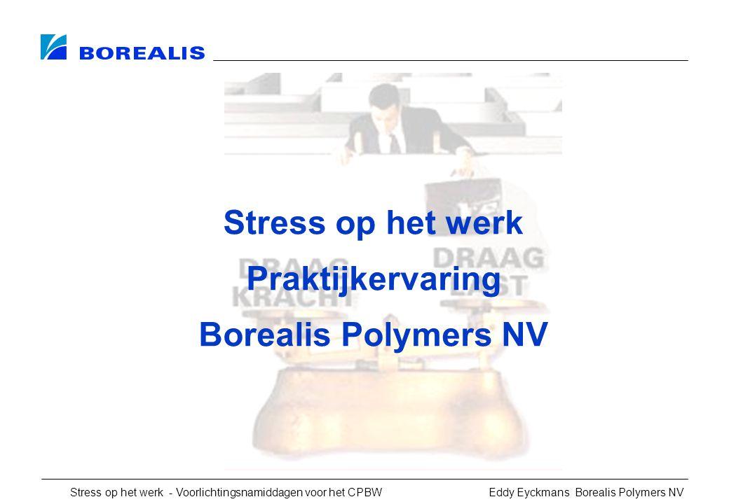 Stress op het werk - Voorlichtingsnamiddagen voor het CPBW Eddy Eyckmans Borealis Polymers NV Stress op het werk Praktijkervaring Borealis Polymers NV