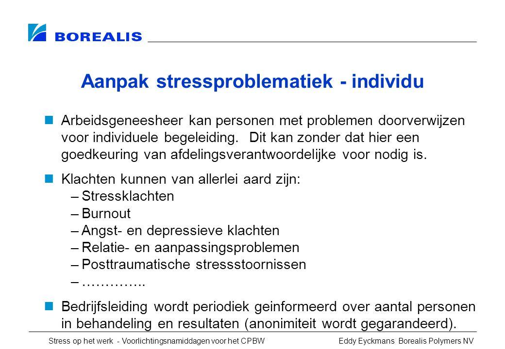 Stress op het werk - Voorlichtingsnamiddagen voor het CPBW Eddy Eyckmans Borealis Polymers NV Aanpak stressproblematiek - individu Arbeidsgeneesheer kan personen met problemen doorverwijzen voor individuele begeleiding.