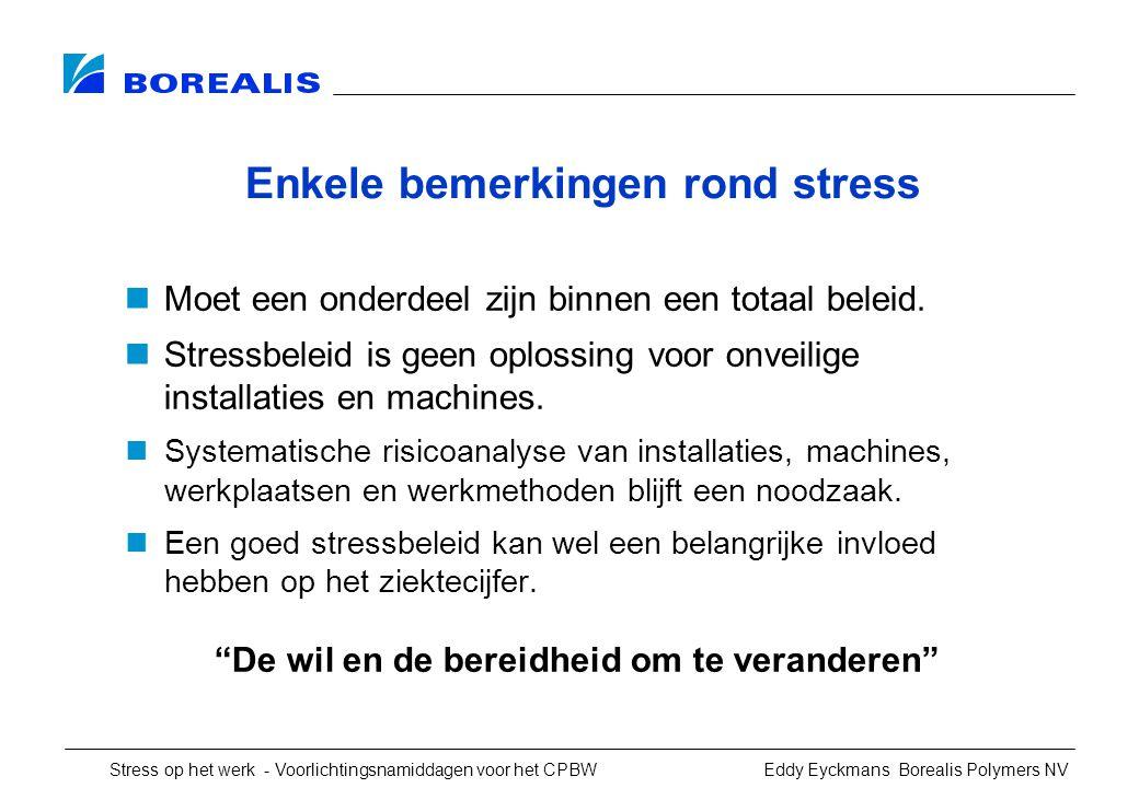 Stress op het werk - Voorlichtingsnamiddagen voor het CPBW Eddy Eyckmans Borealis Polymers NV Enkele bemerkingen rond stress Moet een onderdeel zijn binnen een totaal beleid.