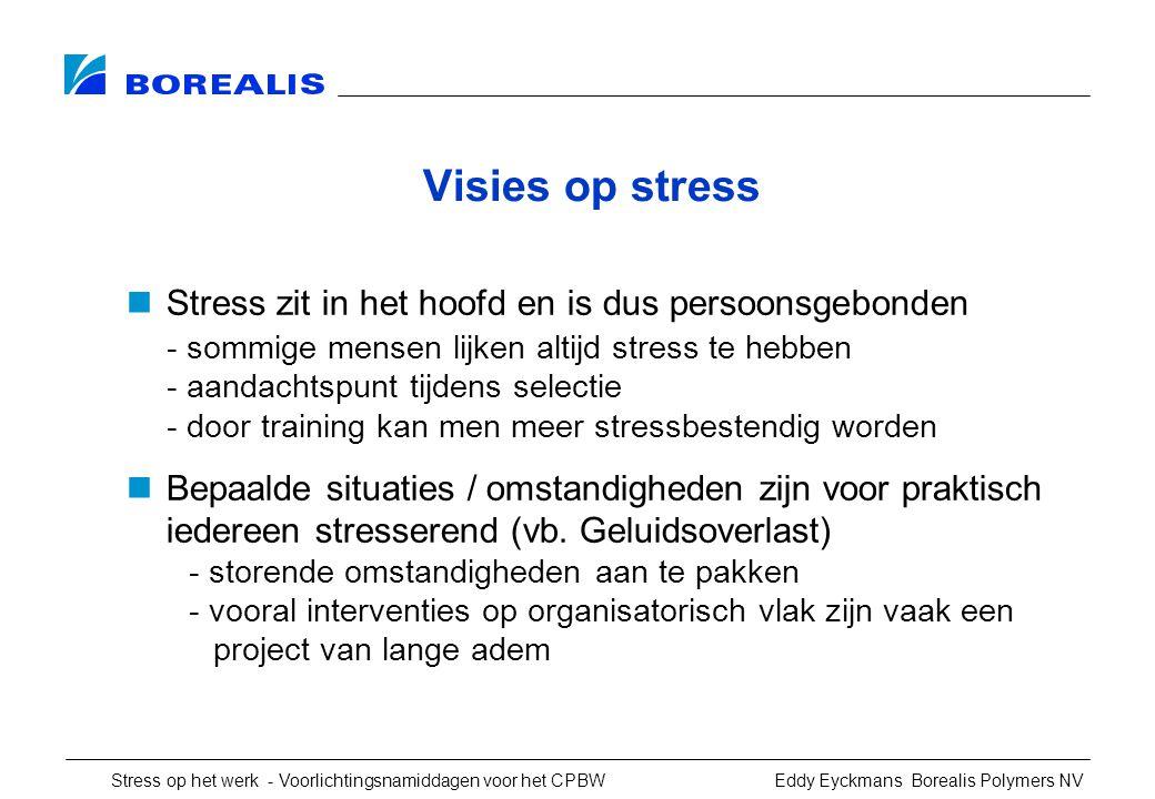 Stress op het werk - Voorlichtingsnamiddagen voor het CPBW Eddy Eyckmans Borealis Polymers NV Visies op stress Stress zit in het hoofd en is dus persoonsgebonden - sommige mensen lijken altijd stress te hebben - aandachtspunt tijdens selectie - door training kan men meer stressbestendig worden Bepaalde situaties / omstandigheden zijn voor praktisch iedereen stresserend (vb.