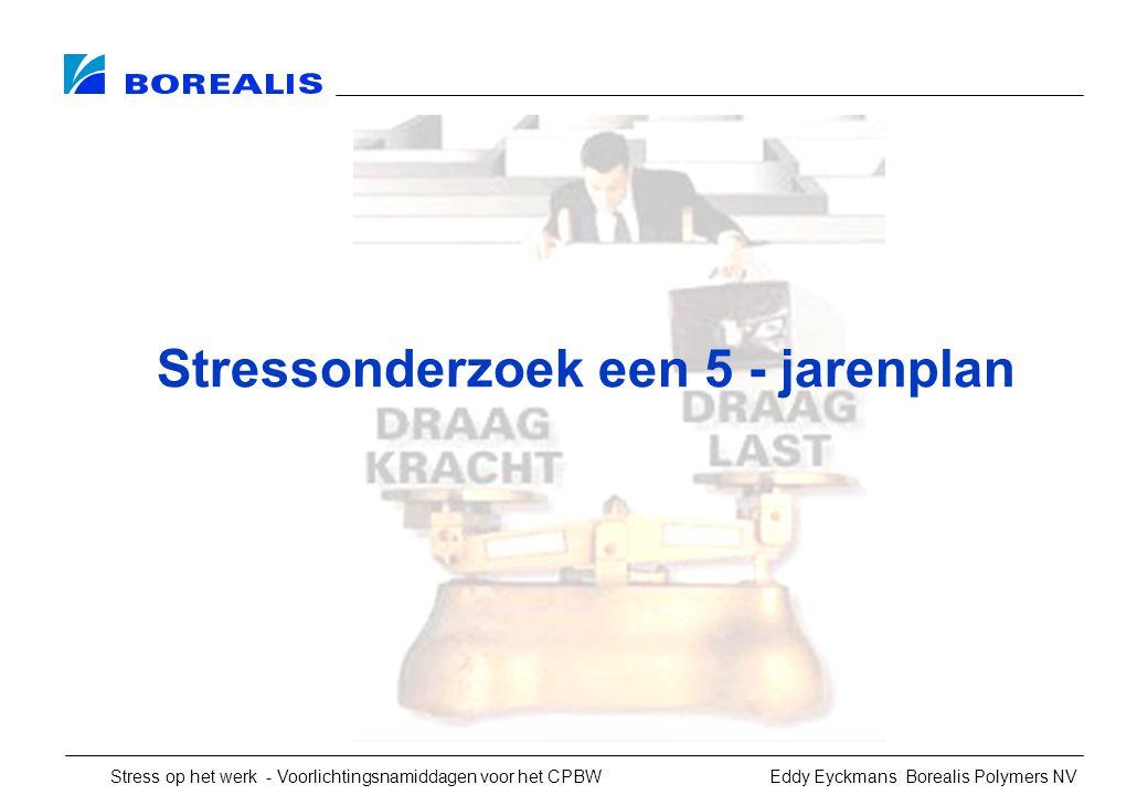 Stress op het werk - Voorlichtingsnamiddagen voor het CPBW Eddy Eyckmans Borealis Polymers NV Stressonderzoek een 5 - jarenplan