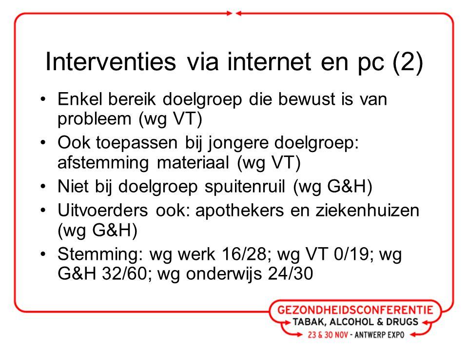 Vroeg detectie en kort advies risicovol alcoholgebruik (1) Meer taboe dan roken (wg werk) Nood aan medewerking (rechtstreekse) leiding (wg werk) Gebrek aan kennis doorverwijzing (wg G&H) Nood aan opvolging patiënt (wg G&H) AGH = bereik jonge mannen (wg werk) Uitvoerders: ook apothekers, OCMW's, CAW's, thuisverpleegkundigen (wg G&H)
