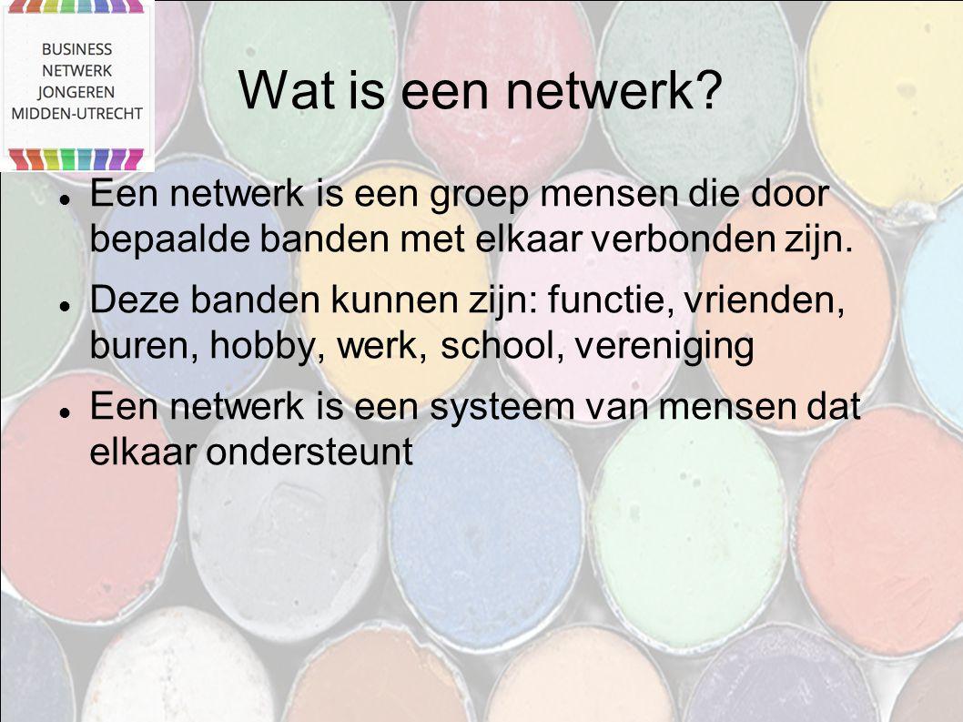 Wat is een netwerk? Een netwerk is een groep mensen die door bepaalde banden met elkaar verbonden zijn. Deze banden kunnen zijn: functie, vrienden, bu