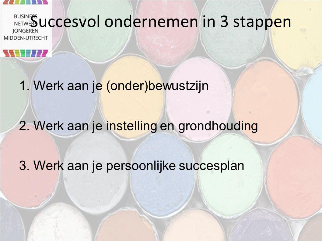 Succesvol ondernemen in 3 stappen 1. Werk aan je (onder)bewustzijn 2. Werk aan je instelling en grondhouding 3. Werk aan je persoonlijke succesplan